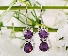 1pair Women Cute Cat 925 Silver Purple Amethyst Crystal Dangle Drop Earrings DIY