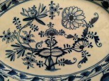Große Meissen Platte Porzellan Fleischplatte Servierplatte oval Zwiebelmuster #9