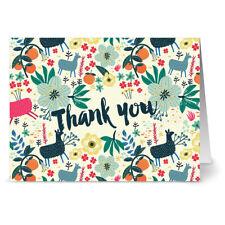 24 Note Cards - Alpaca Fun Motif Thank You - Gray Envs