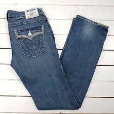 True Religion Straight Jeans Womens 29x34 Medium Wash Low Rise Slim J254