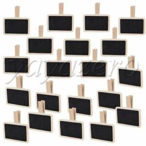 20 x Mini Clip On Blackboard   Rectangle Chalkboard with Peg 6.7 x 4.7cm