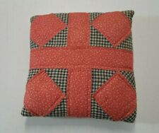 Childs Vintage Plaid Patchwork Quilted Pillow Red Blue Hand Stitched Small  3390