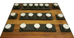 Set of 9 Natural Slate Tealight Stands Holders Candles Trays Handmade Gift Craft