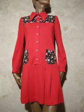 CHIC VINTAGE ROBE JERSEY 1960 TRUE VTG DRESS 60s MOD SCOOTER KLEID ABITO ( 36/38