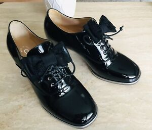 Auth CHANEL Black Patent Leather Satin Lace Bow Lace Up Oxford Booties Size 38