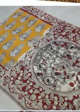 Printed Kalamkari Saree in yellow and nice red, free shipping
