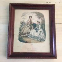 LA MODE ILLUSTREE: Vtg Mid-Century 1862 Victoria Lady Dress, Wooden Frame, Paris