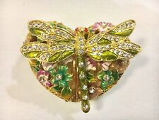 Green Dragonfly Heart Shape Bejeweled Trinket Box