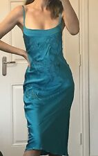 Whistles Pure Silk Turquoise Green Slip Dress Embellished Size 10
