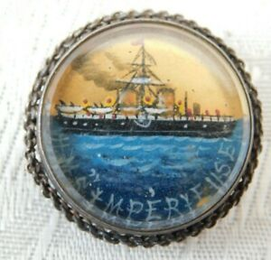 BOER WAR ROYAL NAVY HMS IMPERIEUSE CHESTER SILVER SWEETHEART BROOCH BADGE