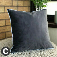 "Luxury Velvet TWO PACK Charcoal Grey Piped Cushion Cover 17""(43cm) Soft Modern"
