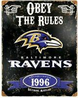 "Baltimore Ravens Rustic Retro Metal Sign 12"" x 15"""