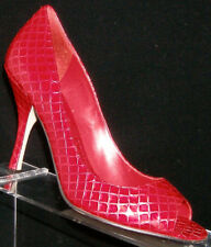 Enzo Angiolini 'Maylie' red peep toe leather reptile print slip on heel 7M 4829
