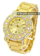 men's Elgin gold tone clubbing calendar watch bling crystals Elgin gift box