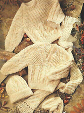"Baby Aran Knitting Pattern Sweaters Hat Mittens Scarf Boys & Girls 16-30""  514"