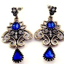 Cobalt Blue Victorian Revival Crystal Earrings Gold Tone Vintage Reproduction