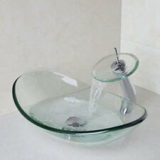 Bathroom Oval Tempered Glass Vessel Sink Set  Without faucet