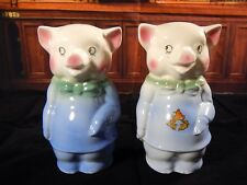 Royal Copley 2 Vintage Ceramic Standing Piggy Banks Blue With Green Ties