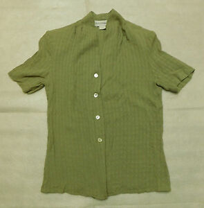 Norton McNaughton Olive Green Short Sleeve Blouse Abalone Shell Buttons 6 Womens