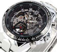 New Mens Quartz Sport Army AVIATOR Wrist Watch Black Stainless Steel Waterproof