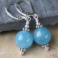 Handmade 12mm Natural Blue Aquamarine Beads Silver Leverback Dangle Earrings