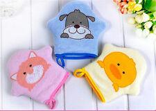Dibujos animados bebé baño guantes frotar esponja suave toalla de algodón bola
