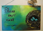 Bird Nest Painting Bless our Nest Quotation Art by Rain Crow