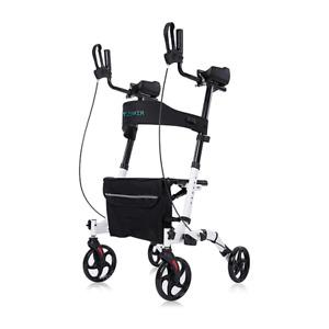 ELENKER Stand Up Folding Rollator Upright Walker - White