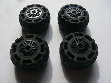Lego 4 roues noires set 8864 7598 7597  / 4 black wheels w/ tires