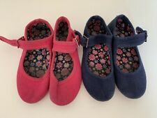Miss Fiori Pink And Navy Blue Mary Jane Canvas Shoes Size 10 Girls