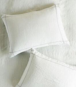 NEW Anthropologie Stitched Linen Standard White Sham