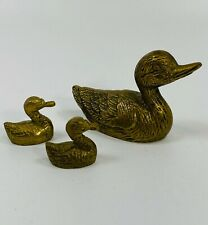 3 Vintage Brass Duck Figurines Mother and 2 Ducklings
