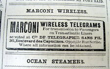 1907 NY Herald newspaper wth one of earliest MARCONI AD for WIRELESS Marconigram