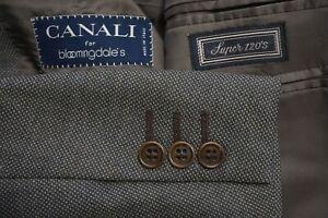 Canali Brown Nailhead S120s Wool 2 Pc Suit Jacket Pants Sz 40R