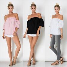 USA Women Off The Shoulder Poplin Top Blouse 3/4 Sleeve Boho Loose blouse S M L