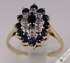3 Tier Sapphire & Diamond Cluster 9k Yellow Gold Ring Vintage? size M, 6.25