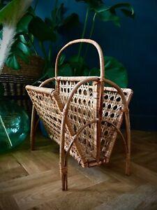 Vintage retro Bamboo Cane Wicker Rattan magazine rack holder Boho tiki