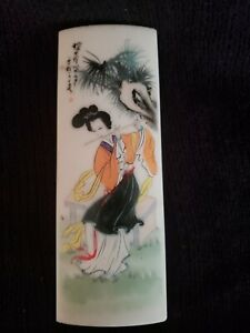 """Chinese Hand Painted Geisha on White Stone Paperweight or Plaque 6"""""""