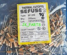 10pcs SF139E SEFUSE Cutoffs NEC Thermal Fuse 142°C Celsius Degree 10A 250V
