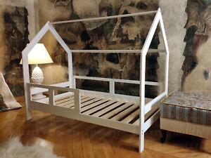 Kinderbett, Hausbett für Kinder, FARBE, Holzbett, mit Barrieren, 7 Tage