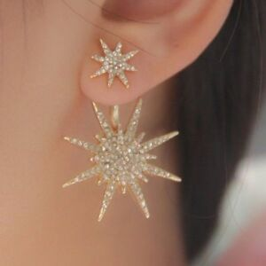 Ladies Crystal Rhinestone Big Double Six-pointed Star Ear Stud Party Earrings