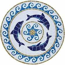 """Mosaic Dolphin Medallion for Pool, Wall or Table  - Large 36""""  - FREE SHIPPING"""