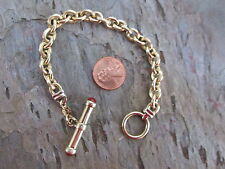 "14 KT Yellow Gold Shiny Oval Link Bracelet Carnelian Cabochon Toggle Clasp 7.5"""