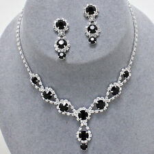 Glitzy Glamour - Black and clear diamante crystal sparkly drop necklace set
