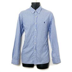 Ralph Lauren Mens LS Button Up Blue Dress Shirt White & Gray Stripes Sz 16.5-42