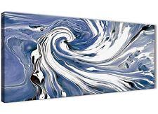 Indigo Blue White Swirls Modern Abstract Canvas Art - 120cm Wide - 1352