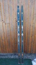 "ANTIQUE Wooden 73"" Long Skis + Metal Bindings + SIgned ALBERG + DARK BLUE Finish"