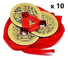 10 Feng Shui Lucky Chinese Real I Ching Coins Set 3 tied 23mm Red Ribbon I-Ching