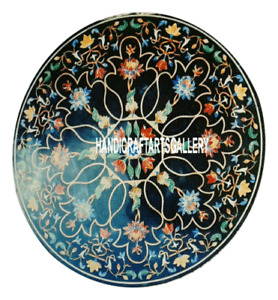Black Marble Coffee Table Top Pietra Dura Floral Inlay Living Home Decors H3082