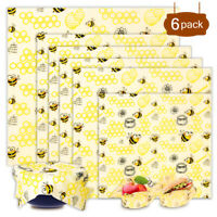 3/6Pcs Natural Reusable Beeswax Fresh Cloth Food Wraps Food Cover Eco-Friendly